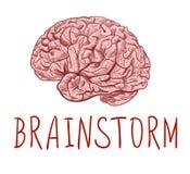 brainstorm Letras e desenho de esboço escritos à mão do cérebro humano Esboço colorido ilustração do vetor