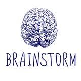 brainstorm Letras e desenho de esboço escritos à mão do cérebro humano Linhas azuis ilustração do vetor