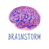 BRAINSTORM letters and blue drawing of human brain on pink watercolor spot. Stock Image
