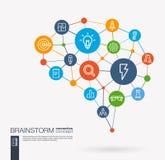 Brainstorm, light bulb, imagination, team work integrated business vector icons. Digital mesh smart brain idea. AI creative think system concept. Digital mesh Royalty Free Stock Photo