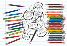 Brainstorm on lined paper with colouring pencils Stock Images