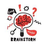 brainstorm Mão engraçada ilustração tirada de conceituar o processo Cérebro dentro da lâmpada Vetor ilustração royalty free