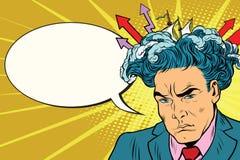 Brainstorm man thinks. Pop art retro vector illustration, comic bubble stock illustration