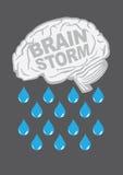 Brainstorm Metaphor Vector Illustration. Human brain with raindrops. Conceptual vector illustration for creative brainstorm metaphor Royalty Free Stock Image