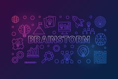 Brainstorm outline colorful horizontal vector illustration. Brainstorm outline colorful horizontal illustration. Vector Brainstorming concept banner in thin line stock illustration