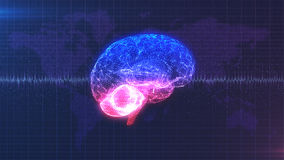 Brainstorm - pink, purple and blue brain with brainwave animation. Computer generated digital brain with brainwave in front of data map of the Earth Royalty Free Stock Image