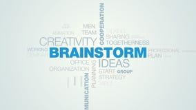 Brainstorm pomysłów twórczości współpracy pracy zespołowej notatek analizy słowa komunikacyjny projekt animującej chmury biznesow ilustracja wektor