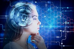 Brainstorm and robotics concept. E view of attractive young woman with abstract digital brain. Brainstorm and robotics concept. Double exposure Stock Photo