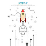 Brainstorm rocket idea style in flat line design. Business start up concept.Brainstorm rocket idea style in flat line design.Line vector illustration Royalty Free Stock Photography
