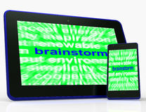 Brainstorm Tablet Means Thinking Creatively Problem Solving And Stock Images