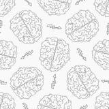 brainstorm Teste padrão sem emenda com o cérebro humano ilustração do vetor