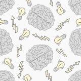 brainstorm Teste padrão sem emenda com o cérebro humano ilustração stock