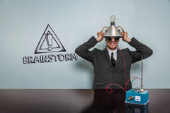 Brainstorm text with vintage businessman Royalty Free Stock Photo