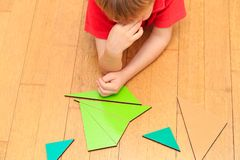 Brainstorm. Thoughts. Little boy solving math Stock Image