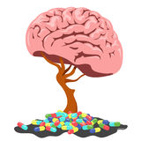 Brainstorm. A tree in the form of a brain and a pill. Vector illustration Royalty Free Stock Photos