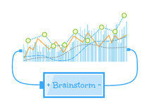 Brainstorm word charging battery power with grow up graph background. Vector illustration Stock Photo