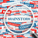 Brainstorm. Word cloud illustration. Tag cloud concept collage Stock Photos