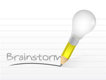 Brainstorm written with a light bulb idea pencil Stock Photo