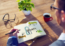 'brainstorming' επιχειρηματιών για το σύστημα ασφαλείας Στοκ Εικόνα