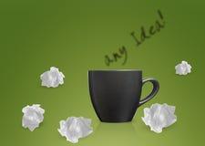 Brainstorming. Creative Thinking With Brainstorming, Crumpled paper around black mug Stock Photos