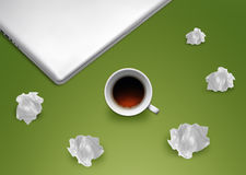 Brainstorming. Creative Thinking With Brainstorming, Crumpled paper around cup of tea Stock Image