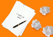 Brainstorming. Creative Thinking With Brainstorming, pen and papers Stock Image