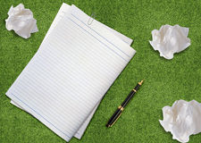 Brainstorming. Creative Thinking With Brainstorming, Crumpled paper and pen Royalty Free Stock Photos