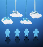 Brainstorming. Four people icons standing underneath paper clouds on a blue background. Could refer to cloud computing, a team brainstorm session, or wireless stock images