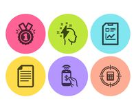 Brainstorming, Approved and Phone payment icons set. Report document, File and Calculator target signs. Vector. Brainstorming, Approved and Phone payment icons vector illustration