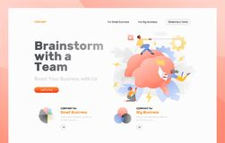 Brainstorming as a Team Web Banner. Vector web page template of brainstorming. Big brain with high voltage symbols surrounded by tiny developers royalty free illustration