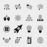 Brainstorming black icons set. Creative brain idea Royalty Free Stock Photo