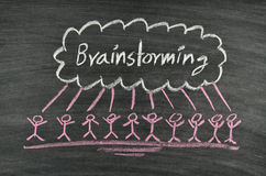 Brainstorming on blackboard Stock Image