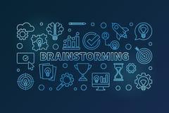 Brainstorming blue vector outline horizontal illustration. Brainstorm concept banner on dark background royalty free illustration