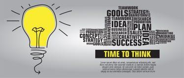 Brainstorming bulb word cloud banner. Brainstorming bulb word cloud. Creative background. Time to think royalty free illustration