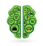 Brainstorming business, green brain, icon vector. Design illustration vector illustration
