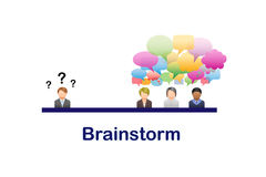 Brainstorming. Business Brainstorming With Speech Bubbles vector illustration