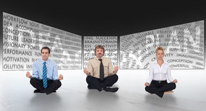 Brainstorming in business startup concept. Brainstorming concept with meditating business people in front of large screens stock photo