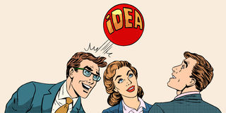 Brainstorming business team concept to develop the. Idea pop art retro style. Businessmen and a businesswoman playing with a ball with inscription idea royalty free illustration