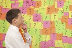 Brainstorming. Businessman solves complex problem stock photography