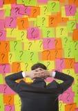 Brainstorming. Businessman solves complex problem royalty free stock image