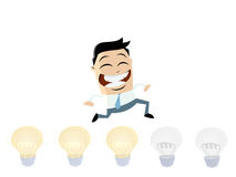Brainstorming businessman turning lights on Royalty Free Stock Photography