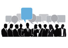 Brainstorming chat. Silhouettes of a group of businessman and businesswomen brainstorming with speech bubbles above, one emphasized in pale blue color royalty free illustration