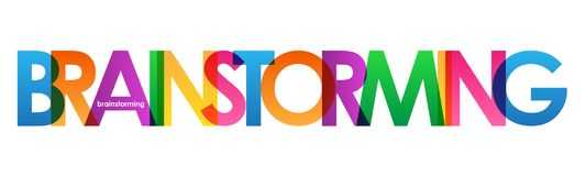BRAINSTORMING colorful overlapping letters banner royalty free illustration