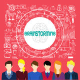 Brainstorming concept. Business doodle background Royalty Free Stock Photo