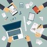 Brainstorming concept. Business meeting. Teamwork. Work desk. Flat vector. Illustration Royalty Free Stock Photo