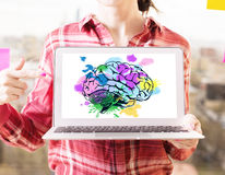 Brainstorming concept. Woman poitning at laptop with creative colorful human brain drawing. Brainstorming concept royalty free stock photo