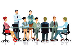 Brainstorming and conference. Illustration of smartly dressed men and women gathered round a table two standing and six seated taking part in a brainstorming Stock Photos