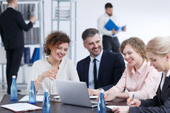 Brainstorming in corporation. Corporation workers brainstorming about new marketing project Stock Photography