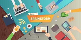 Brainstorming creative team concept in flat style. business people collection. Hands with bussines gadgets  illustration Royalty Free Stock Photo