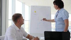 'brainstorming' dei collaboratori dell'ufficio accanto al diagramma sulla lavagna in sala del consiglio archivi video